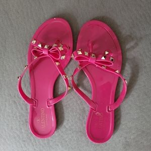 Valentino Hot Pink Stud Jelly Sandals